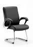 Romeo Visitor Cantilever Chair Black Leather With Arms