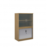 Relax Systems Combination Bookcase 1600mm Height With Horizontal Tambour & Glass Doors