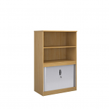 Relax Systems Combination Bookcase 1600mm Height With Horizontal Tambour