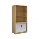 Relax Systems Combination Bookcase 2000mm Height With Horizontal Tambour