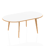 Oslo White Frame Wooden Leg Oval Boardroom Table 1800 White With Natural Wood Edge