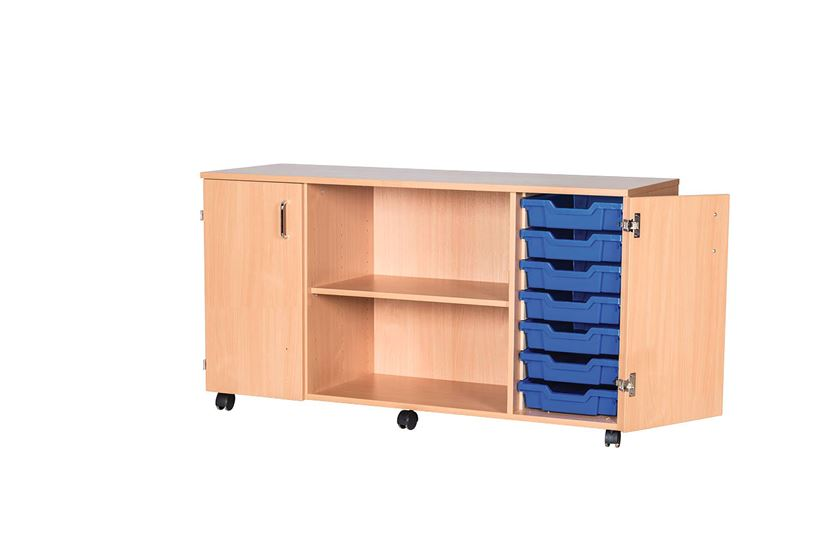 14 Tray 697mm Height Cupboard Quad Unit with Shelves