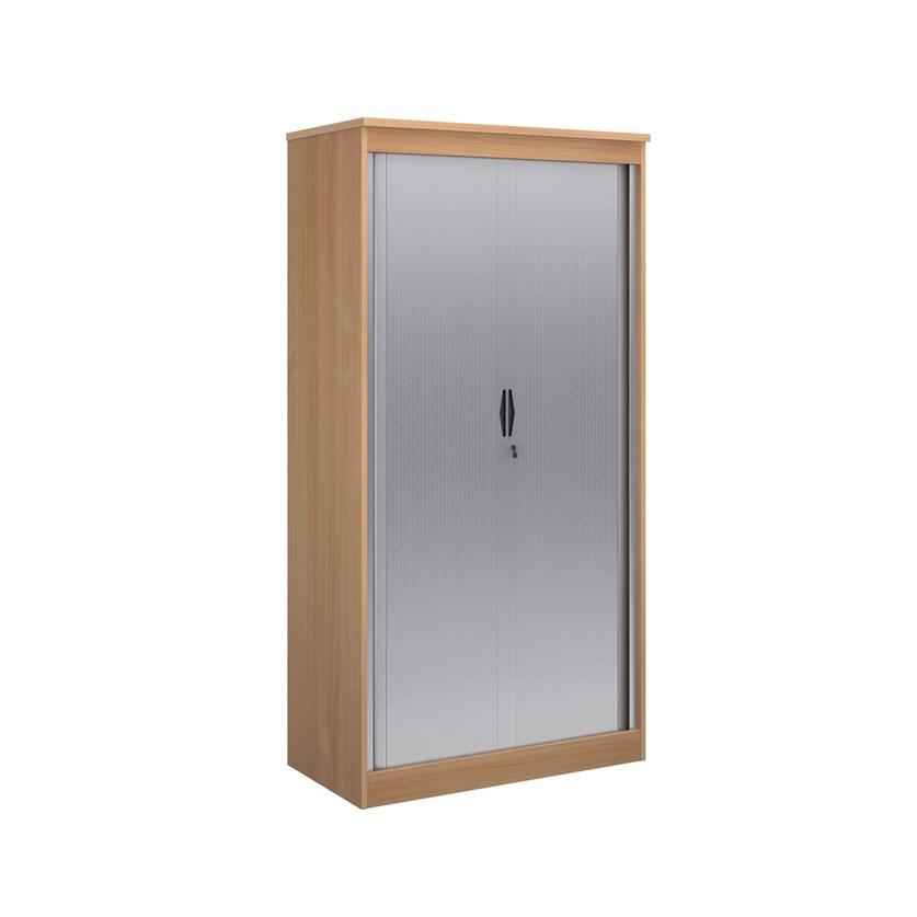 Systems horizontal tambour door cupboard 2000mm high - beech