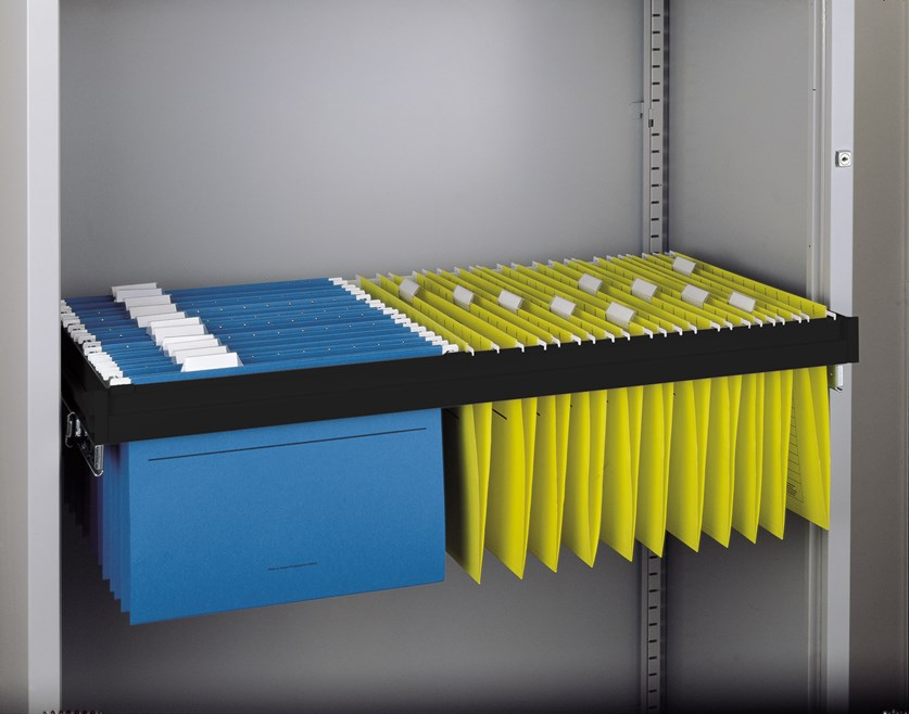 Roll out filing frame for Bisley systems storage cupboards and tambours - black