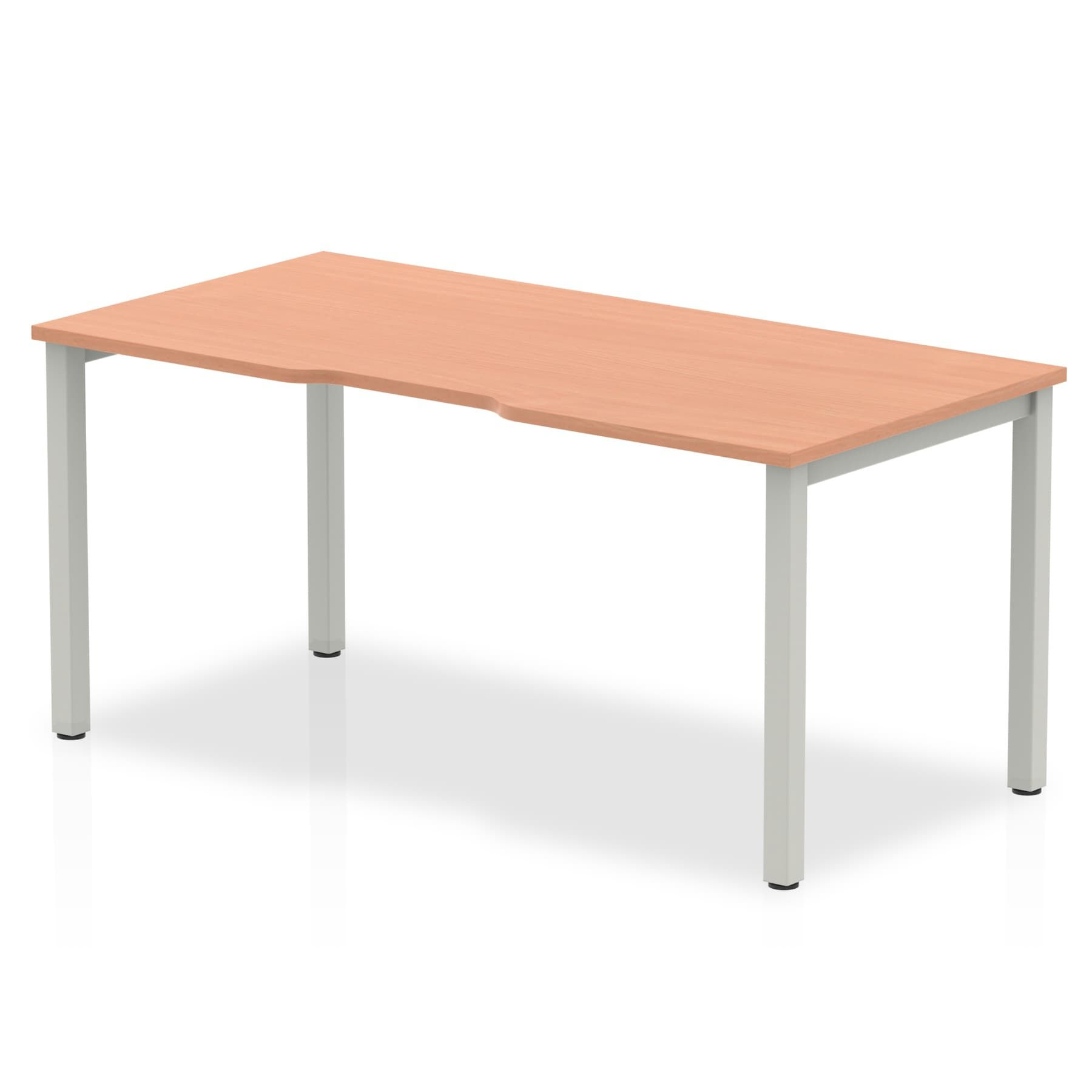 Single Silver/White Frame Bench Desk 1600