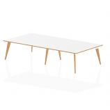 Oslo White Frame Wooden Leg Rectangular Boardroom Table 3200 White With Natural Wood Edge (2 pod)