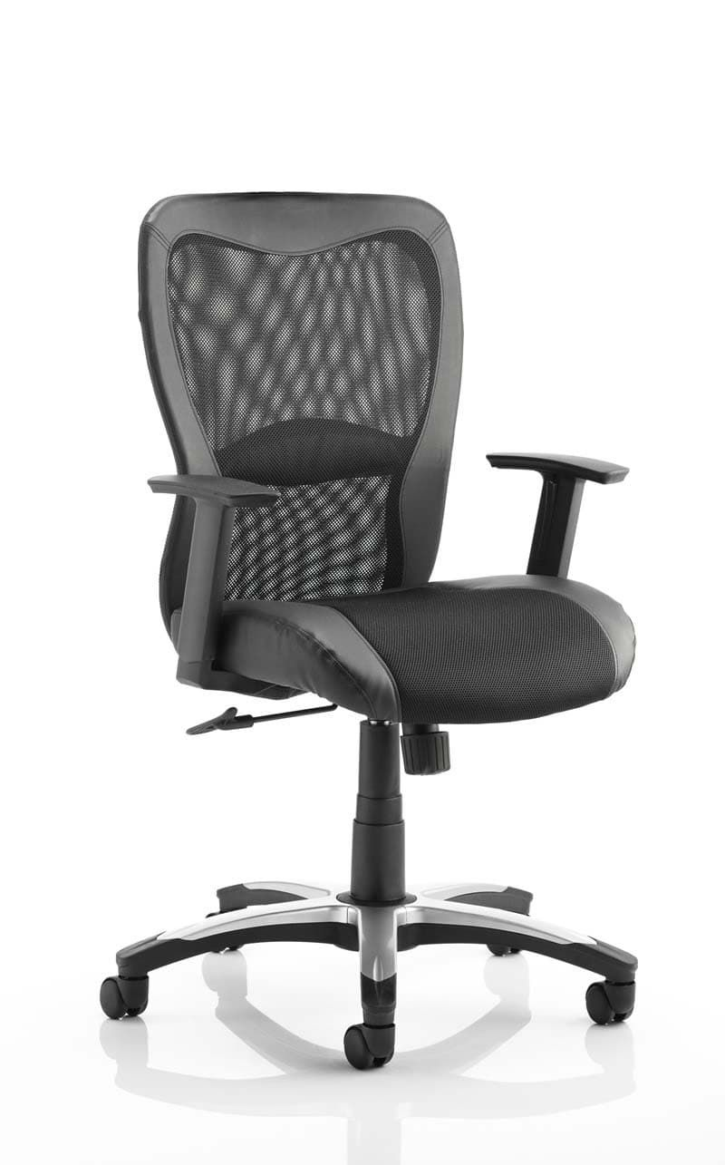 Victor Executive Chair Black Leather Black Mesh With Arms