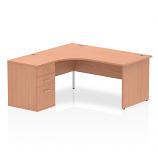 Impulse 1600 Left Hand Panel End Workstation 600mm Depth Pedestal Bundle