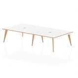 Oslo B2B White Frame Wooden Leg Bench Desk 1600 White With Natural Wood Edge (4 Pod)