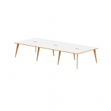 Oslo B2B White Frame Wooden Leg Bench Desk 1200 White With Natural Wood Edge (6 Pod)