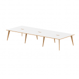 Oslo B2B White Frame Wooden Leg Bench Desk 1400 White With Natural Wood Edge (6 Pod)