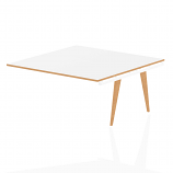Oslo White Frame Wooden Leg Square Boardroom Table Ext Kit 1600 White With Natural Wood Edge