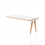 Oslo Single Ext Kit White Frame Wooden Leg Bench Desk 1400 White With Natural Wood Edge