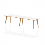 Oslo Single White Frame Wooden Leg Bench Desk 1400 White With Natural Wood Edge (2 Pod)