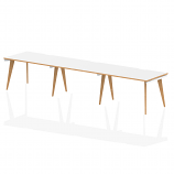 Oslo Single White Frame Wooden Leg Bench Desk 1200 White With Natural Wood Edge (3 Pod)