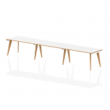 Oslo Single White Frame Wooden Leg Bench Desk 1400 White With Natural Wood Edge (3 Pod)