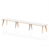 Oslo Single White Frame Wooden Leg Bench Desk 1600 White With Natural Wood Edge (3 Pod)