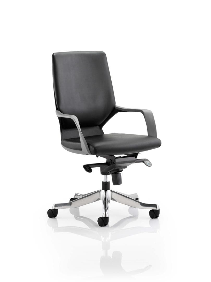 Xenon Executive Black Chair Black Leather Medium Back With Arms
