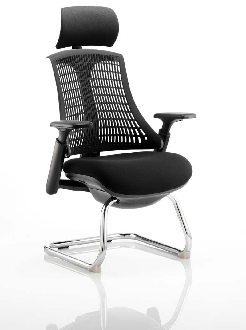 Flex Visitor Cantilever Chair Black Frame Black Fabric Seat With Arms and Headrest
