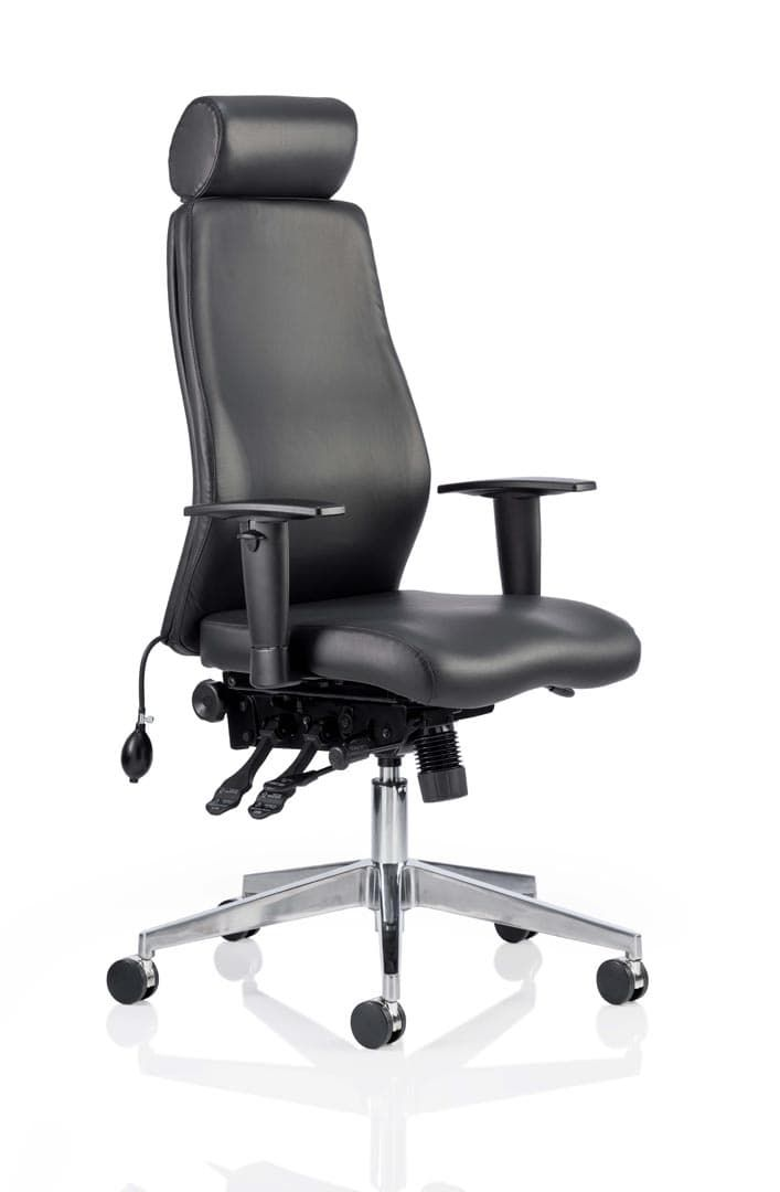 Onyx Ergo Posture Chair Bonded Leather With Headrest