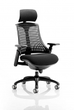 Flex Task Operator Chair Black Frame With Black Fabric Seat With Headrest