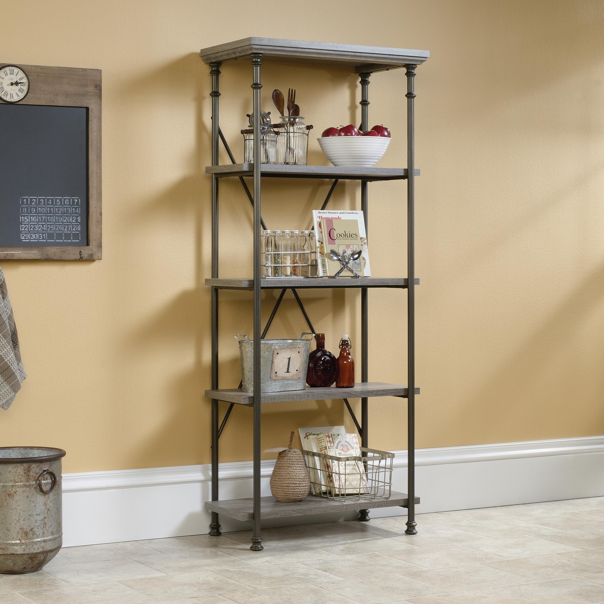 Industrial Style 4 Shelf Bookcase (Charter Oak Finish)