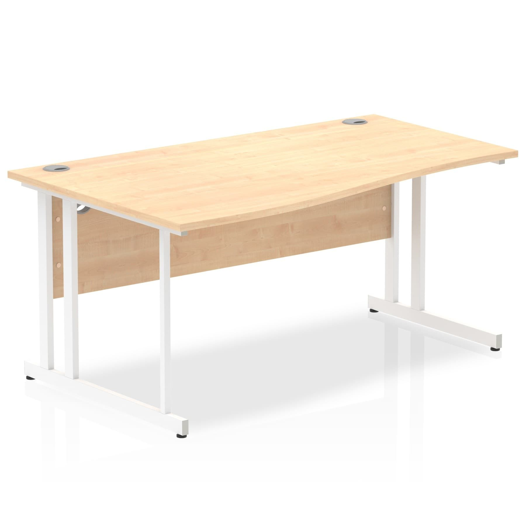 Impulse 1600 Left Hand White Cantilever Leg Wave Desk