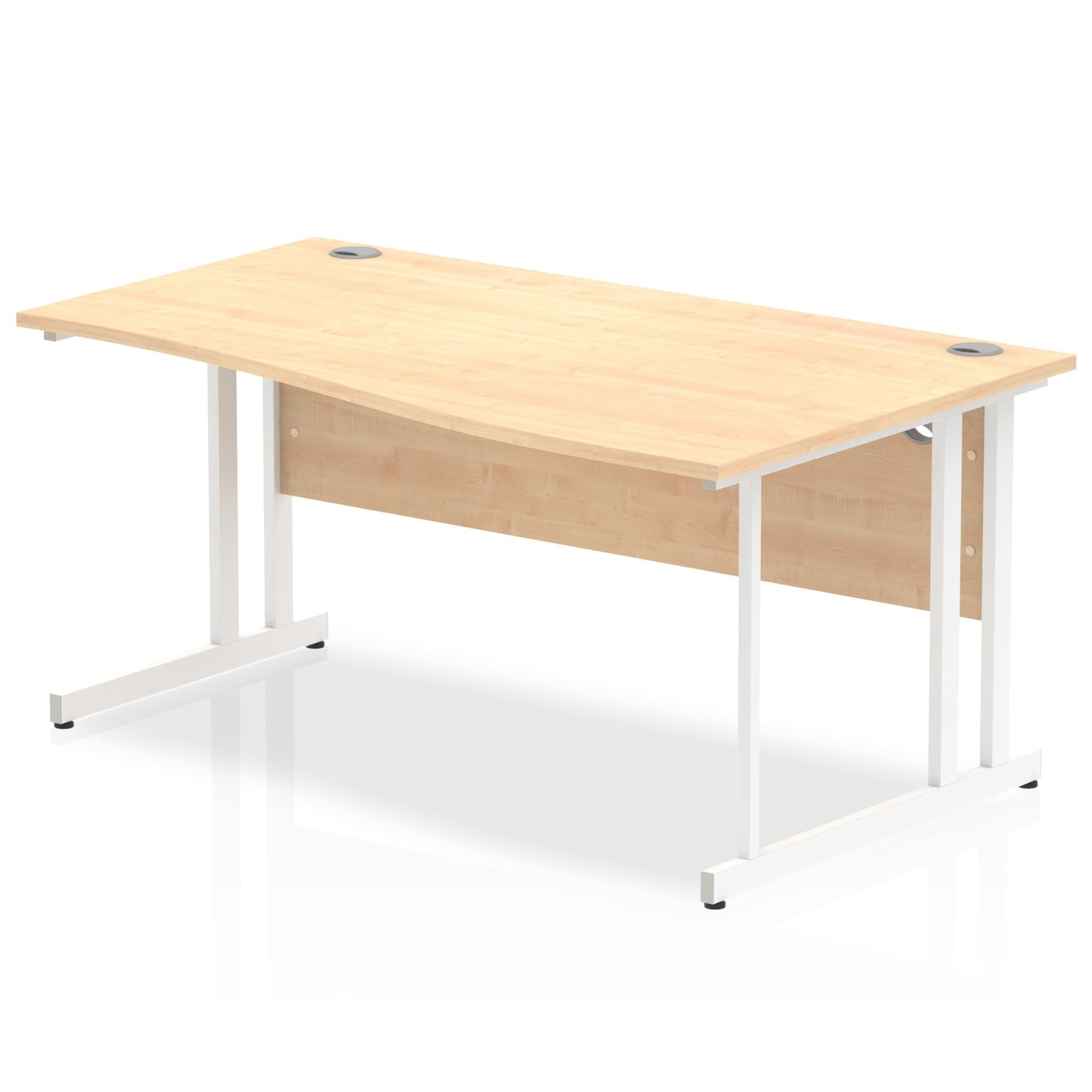Impulse 1600 Right Hand White Cantilever Leg Wave Desk