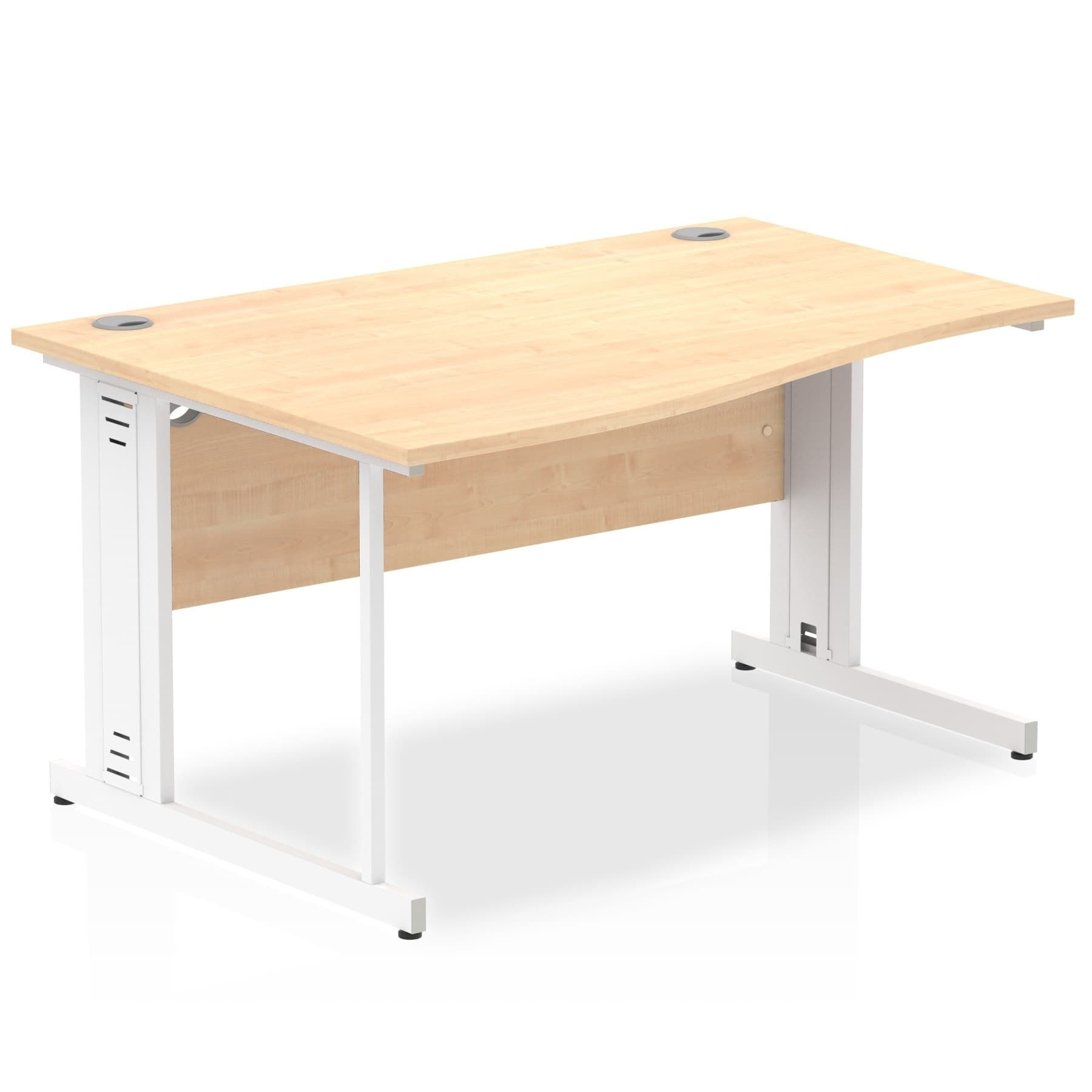 Impulse 1400 Left Hand White Cable Managed Leg Wave Desk