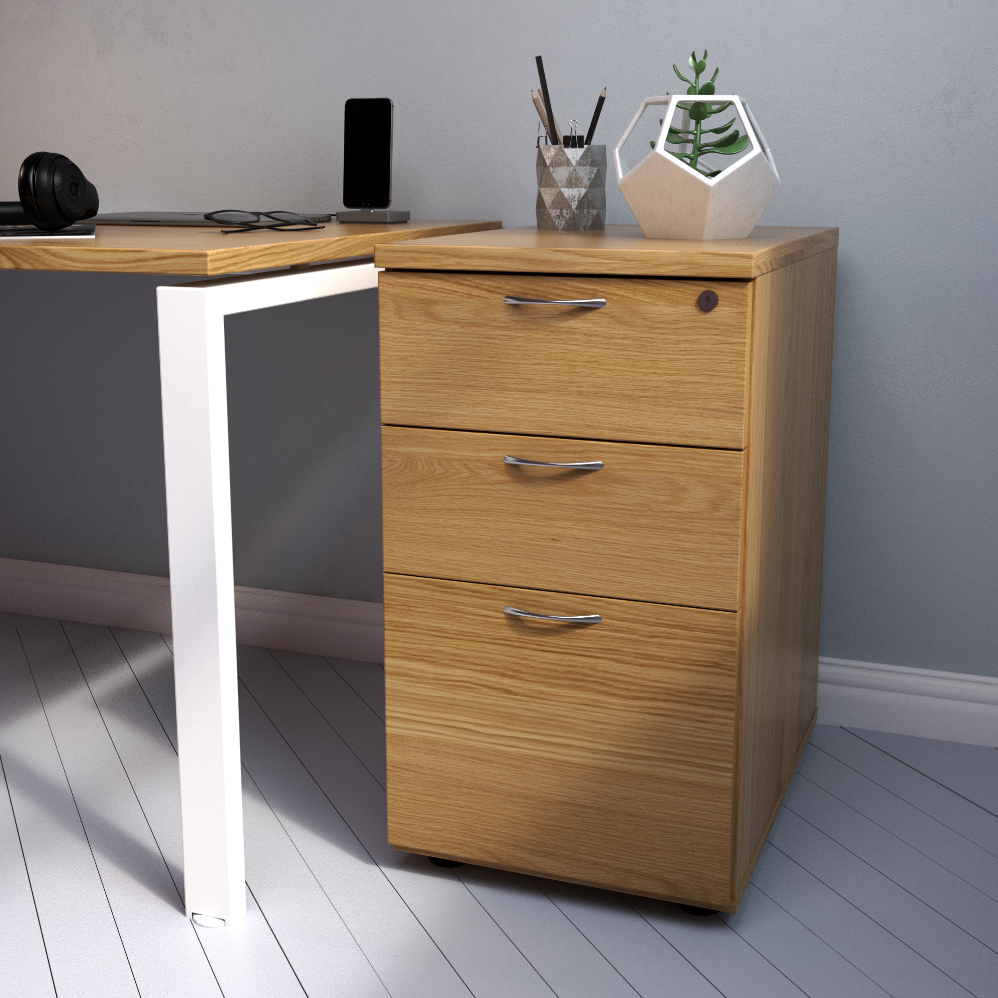 Essentials - 3 Drawer Desk High Pedestal (800mm Deep)