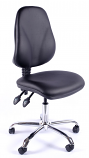 Juno Chrome Vinyl High Back Operator Chair