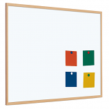 Single Sided Magnetic Whiteboard - Coated Steel with Light Wood Frame