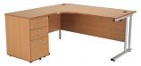 Smart - 1600mm Left Hand Crescent Desk and Pedestal